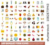 100 banquet firm icons set in... | Shutterstock . vector #1082875943