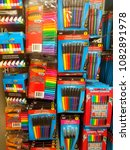 Small photo of Wilmington, Delaware, U.S.A - May 3, 2018 - Selection of stationery and school supplies at Dollar Deals