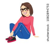 young beautiful brunette girl... | Shutterstock .eps vector #1082894753