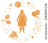 fat girl  badminton rackets and ... | Shutterstock .eps vector #1082895128