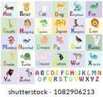 Stock vector zoo alphabet animal alphabet letters from a to z cartoon cute animals isolated on white 1082906213