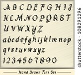 hand drawn custom font set in... | Shutterstock .eps vector #108291296