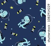 space dinosaur pattern design... | Shutterstock .eps vector #1082914229