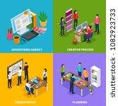 advertising agency isometric... | Shutterstock .eps vector #1082923733