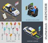 driving school isometric 2x2... | Shutterstock .eps vector #1082923838
