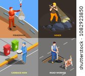 worker professions isometric... | Shutterstock .eps vector #1082923850