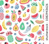 cartoon fruits and berries... | Shutterstock .eps vector #1082943626