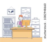 call center agent working at...   Shutterstock .eps vector #1082948660