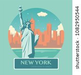 statue of liberty. new york... | Shutterstock .eps vector #1082950544