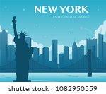 statue of liberty. new york... | Shutterstock .eps vector #1082950559