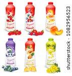 set of yogurt in bottles with... | Shutterstock .eps vector #1082956523