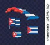 cuba flag and map pixel art... | Shutterstock .eps vector #1082984480