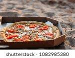 fresh pizza with tomato chicken ... | Shutterstock . vector #1082985380