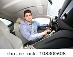 a young man driving the car | Shutterstock . vector #108300608