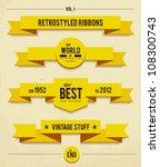retro syled ribbons vector set. | Shutterstock .eps vector #108300743