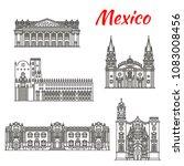 mexican travel landmark of...   Shutterstock .eps vector #1083008456