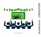 soccer or football fans with... | Shutterstock .eps vector #1083024350