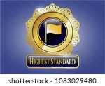 golden emblem with flag icon... | Shutterstock .eps vector #1083029480