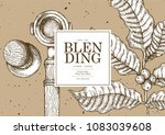 vintage coffee illustration for ... | Shutterstock .eps vector #1083039608