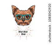 yorkshire terrier nerd. smart... | Shutterstock .eps vector #1083042920