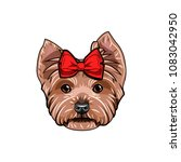 yorkshire terrier with red bow. ... | Shutterstock .eps vector #1083042950