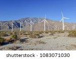 wind turbines creating... | Shutterstock . vector #1083071030