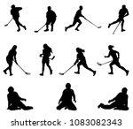 floorball player silhouette.... | Shutterstock .eps vector #1083082343