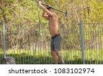 sport fitness man hitting wheel ... | Shutterstock . vector #1083102974