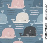 seamless pattern with whale.... | Shutterstock .eps vector #1083109664