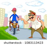 india traffic police vector... | Shutterstock .eps vector #1083113423