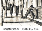 school bullying. afro american... | Shutterstock . vector #1083117413