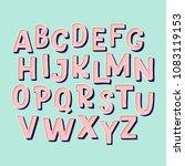 cute hand drawn alphabet made... | Shutterstock .eps vector #1083119153