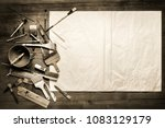 painting still life with paper  ... | Shutterstock . vector #1083129179