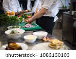 professional team cooks and... | Shutterstock . vector #1083130103