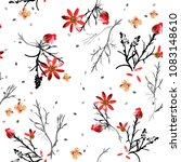 graphic  floral pattern with... | Shutterstock .eps vector #1083148610