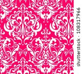 Damask Seamless Pink Background