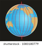 geographic coordinate system of ... | Shutterstock . vector #1083180779