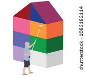 painter painting house at work... | Shutterstock .eps vector #1083182114