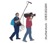 journalist news reporter with... | Shutterstock .eps vector #1083182684