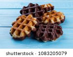 delicious belgian waffles with... | Shutterstock . vector #1083205079