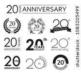 20 years anniversary icon set.... | Shutterstock . vector #1083205499