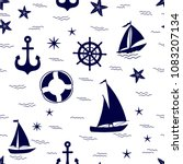 marine seamless pattern with... | Shutterstock .eps vector #1083207134