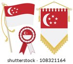 Singapore Flag  Rosette And...