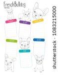 french bulldog timetable  ... | Shutterstock .eps vector #1083215000