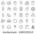 thin line icon set   cupcake... | Shutterstock .eps vector #1083220319