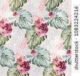 summer watercolor flowers... | Shutterstock .eps vector #1083224216