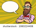 stylish bearded hipster with... | Shutterstock .eps vector #1083224408