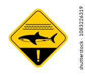 shark warning sign with shark... | Shutterstock .eps vector #1083226319