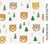 cute vector pattern with bears... | Shutterstock .eps vector #1083226796