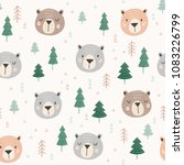 Stock vector cute woodland vector pattern tribal seamless design with bear heads and hand drawn trees in 1083226799